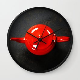 Vintage Teapot on dark background Wall Clock