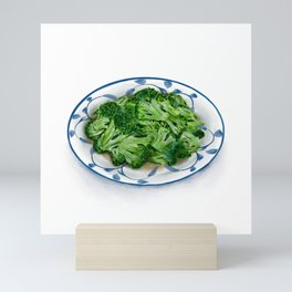 Watercolor Illustration of Chinese Cuisine - Fried broccoli with minced garlic | 蒜蓉西兰花 Mini Art Print