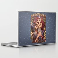 mucha Laptop & iPad Skins featuring Gamer girl Nouveau by Medusa Dollmaker