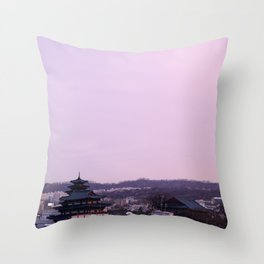 Pink Sky in Seoul Throw Pillow
