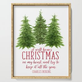 Watercolor Charles Dickens quote | Christmas card Serving Tray