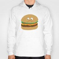 hamburger Hoodies featuring Sad Hamburger by Chris Piascik