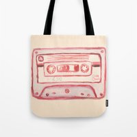 tape Tote Bags featuring tape by muskawo