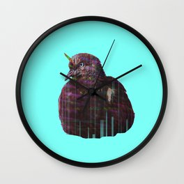 Disco pigeon unicorn Wall Clock