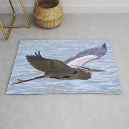 Watercolor Bird, Great Blue Heron 04, Longmont, Colorado Rug