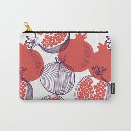 Seamless fashion pattern of pomegranate fruit, half, whole. Vintage hand drawn illustration texture in modern flat style Carry-All Pouch