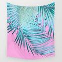 Palm Leaves Pink Blue Vibes #1 #tropical #decor #art #society6 by anitabellajantz