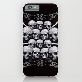 Skulls and Filigree - Black and White iPhone Case