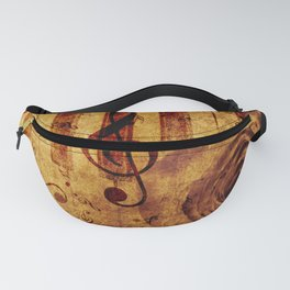 Old piano keys with musical notes and rose Fanny Pack