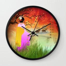 Geisha am Meer Wall Clock