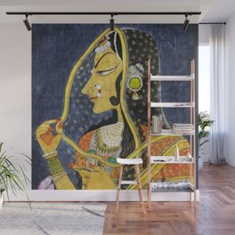 Bani Thani female portrait painting in traditional Rajasthani, the Mona Lisa of India by Nihal Chand Wall Mural