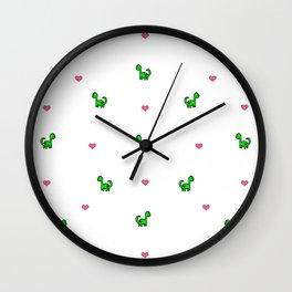 Dino Love White Wall Clock