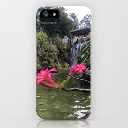 Waterfall with Tropical Flowers iPhone Case