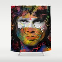 rowing Shower Curtains featuring rock star  by mark ashkenazi