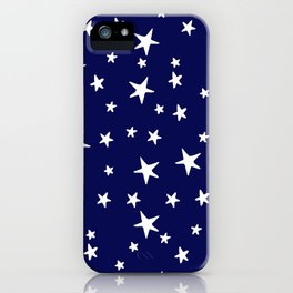 Stars - White on Navy Blue iPhone Case