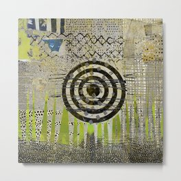 Bullseye Abstract Art Collage Metal Print