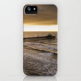 Folly Beach Pier in Gold iPhone Case
