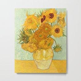 Vincent Van Gogh Sunflowers Vintage Painting Metal Print