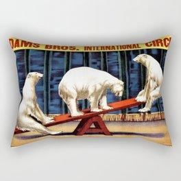 1924 Adams Brothers Circus 'Three Polar Bears' Advertisement Poster Rectangular Pillow