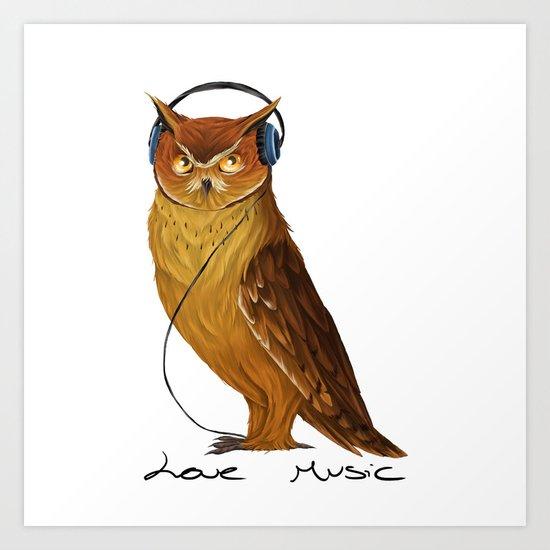 Love Music owl  Art Print
