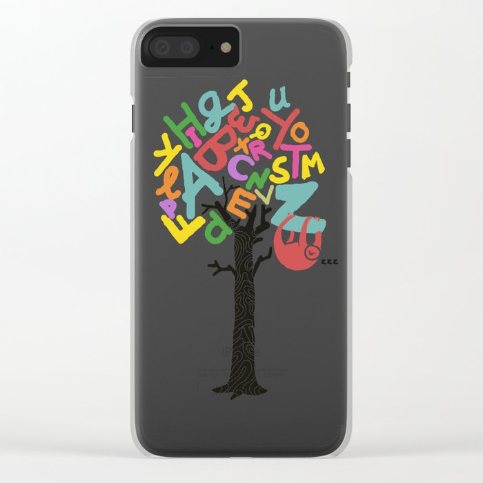 Sleep All Day (A-Z) Clear iPhone Case