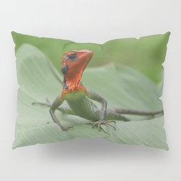 Gecko iguana Red Head Pillow Sham