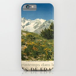 printemps dans les alpes de france vintage Poster iPhone Case