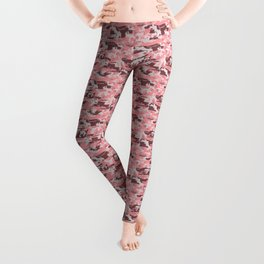 Military Camouflage Pattern - Pink Brown Gray  Leggings