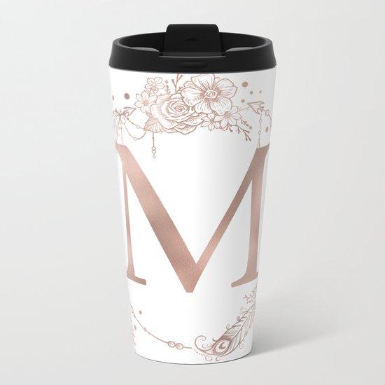 Letter M Rose Gold Pink Initial Monogram Metal Travel Mug