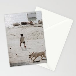 A boy and a dog Stationery Cards