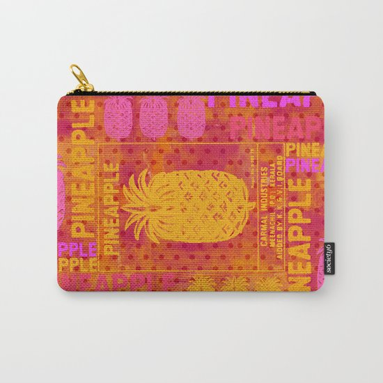Pineapple pink orange colorful artwork Carry-All Pouch