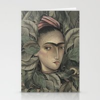 frida kahlo Stationery Cards featuring Frida Kahlo by Antonio Lorente