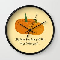 pumpkin Wall Clocks featuring Pumpkin by Laura Maria Designs