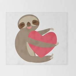 Funny sloth with a red heart Throw Blanket