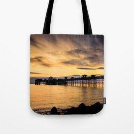 Sunrise at Llandudno Pier Tote Bag