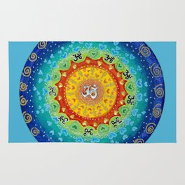 Cosmic Mandala Teal Rug