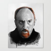 louis ck Canvas Prints featuring Louis CK by Vic Yambao Art