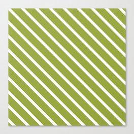 Olive Diagonal Stripes Canvas Print