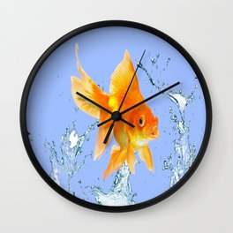 DECORATIVE  GOLDFISH SPLASHING  WATER ART Wall Clock