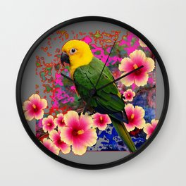 YELLOW HEADED GREEN PARROT PINK HIBISCUS GREY FLORAL Wall Clock