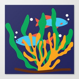 Fishes and seaweeds Canvas Print
