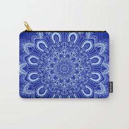 Blue Boho Mandala Flower Carry-All Pouch