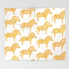 Zebras – Yellow Palette Throw Blanket