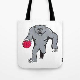 Grizzly Bear Angry Dribbling Basketball Isolated Tote Bag