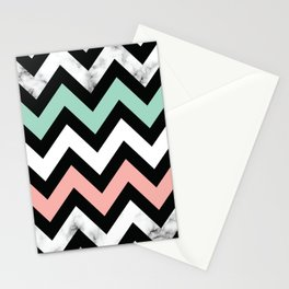 Marble Chevron Pastel Color Pattern Stationery Cards