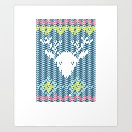 Christmas Knitted Like Art Reindeer Rudolph Xmas Winter Holidays Art Print