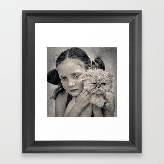 A Girl and her Cat Framed Art Print