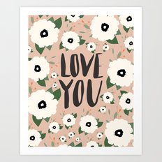 Love you floral - Tan Art Print