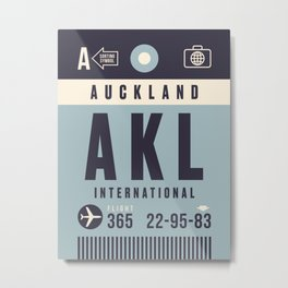 Baggage Tag A - Auckland New Zealand Metal Print