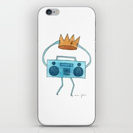 boombox holding a paper crown iPhone Skin